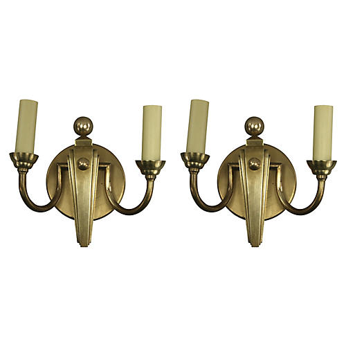 French Deco Sconces, Pair