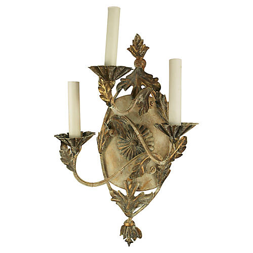 3-Arm Foliate Sconces, S/2