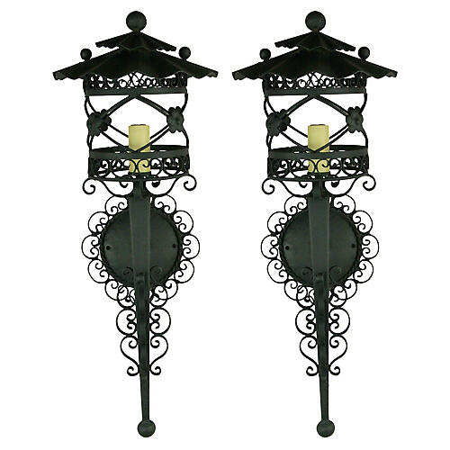 French Scrolled Lantern Sconces, S/2