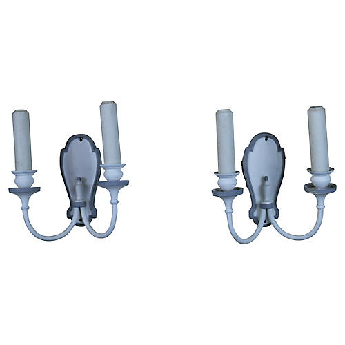 French 2-Light Sconces, S/2