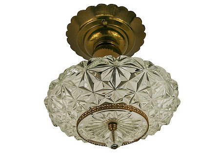 French Faceted Glass Flush Mounts, Pair