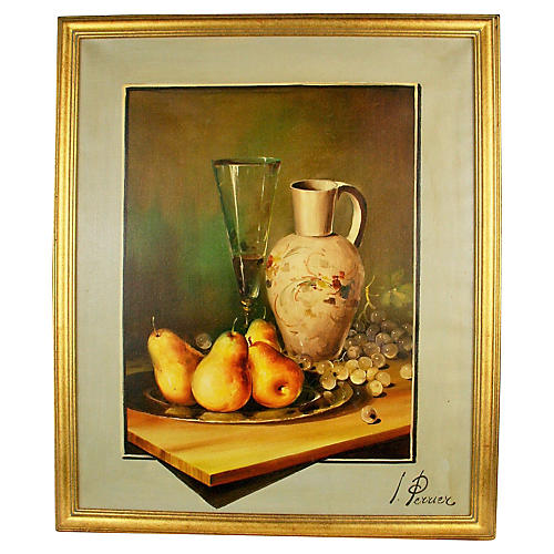 Pears & Champagne Still Life