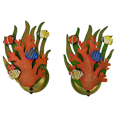 Coral Sconces, Pair