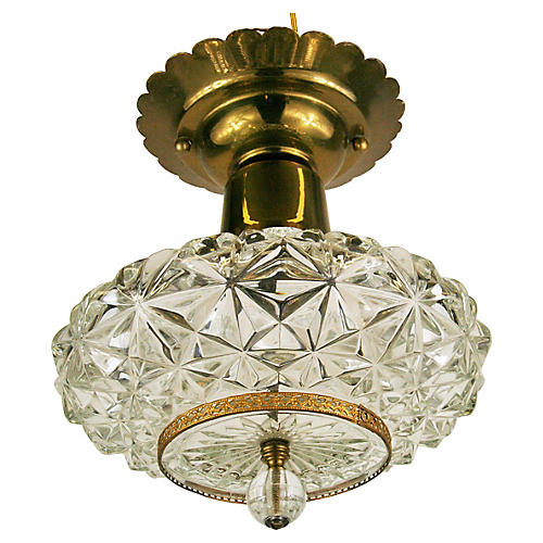 Faceted Crystal Semi-Flush Mount