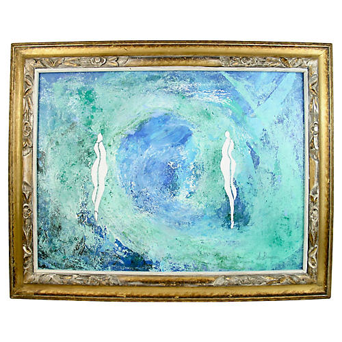 Figures on Blue Abstract