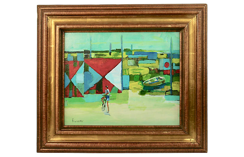 Abstract French Harbor Landscape