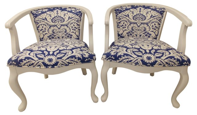 White Barrel Chairs, Pair