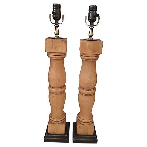 Pine Baluster Lamps, Pair