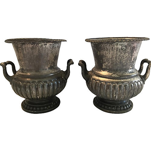 Pair Small English Silverplate Urns