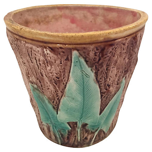 English Majolica Faux Bois Cachepot