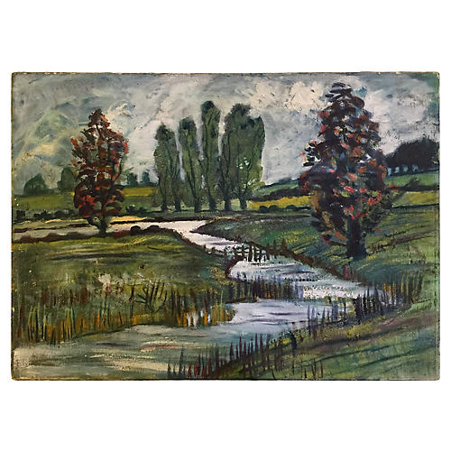 Trees by a Stream by J. Down, 1982