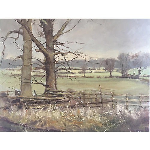 English Field Oil Painting