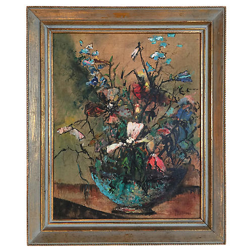 Mid-Century Spring Floral Oil Painting