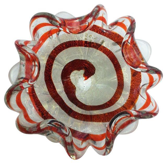 Red & Silver Swirl Murano Dish