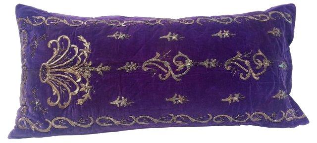Purple Turkish Embroidered Pillow
