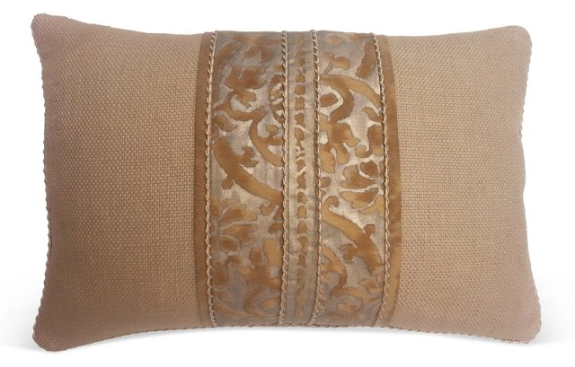 Fortuny Bronze Center Banded    Pillow