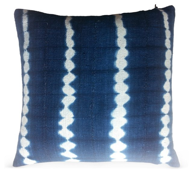 African Stripe Indigo Pillow