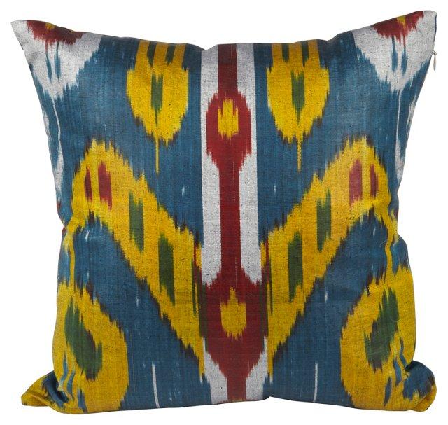 Blue & Yellow Silk  Ikat Pillow