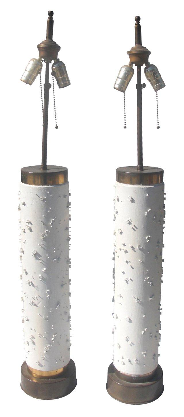 Wallpaper Roller Lamps, Pair