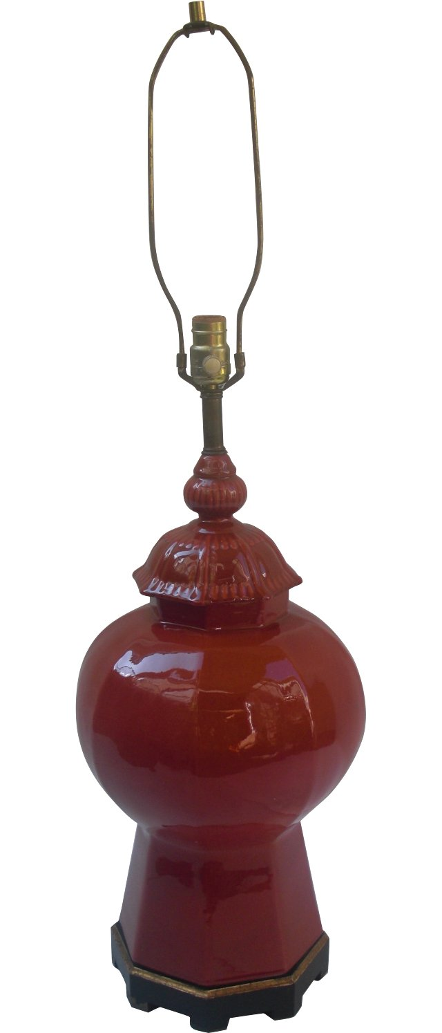 Red Ginger Jar Lamp
