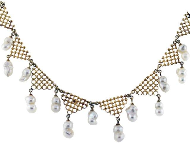 1960s Baroque Pearl Chandelier Necklace