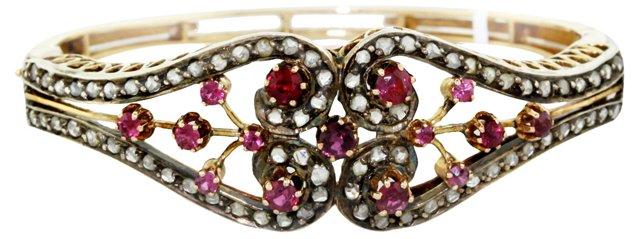 Goldtone Ruby & Diamond Bracelet