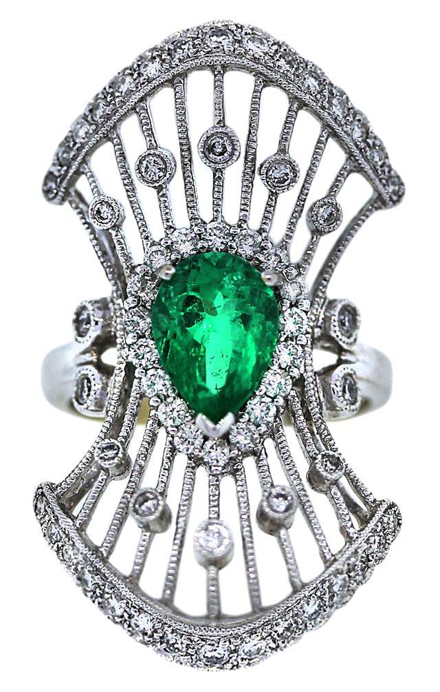 Deco Emerald & Diamond Cocktail Ring