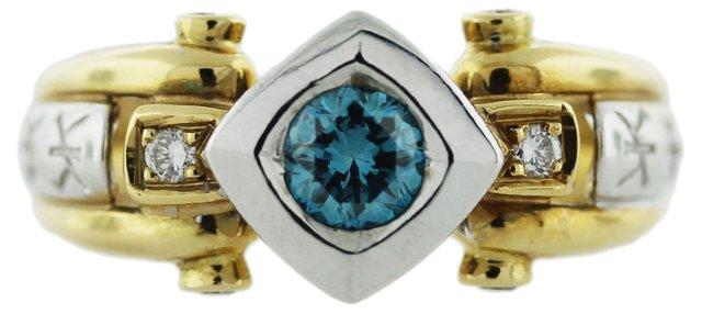 Blue & White Diamond Cocktail Ring