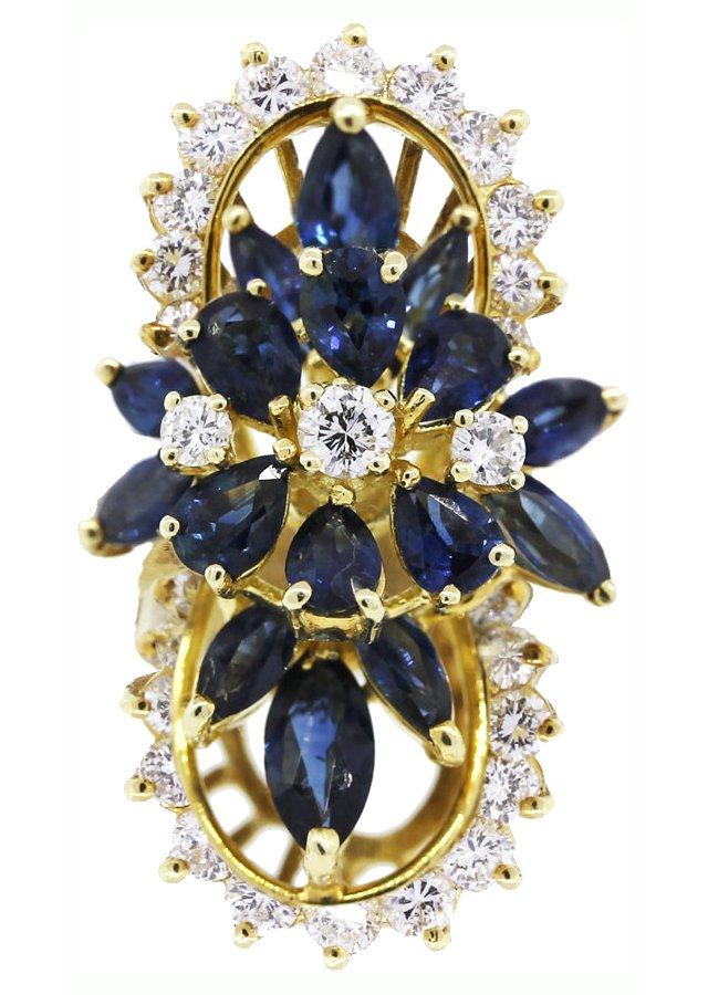 Gold Ring w/ Diamonds & Sapphires