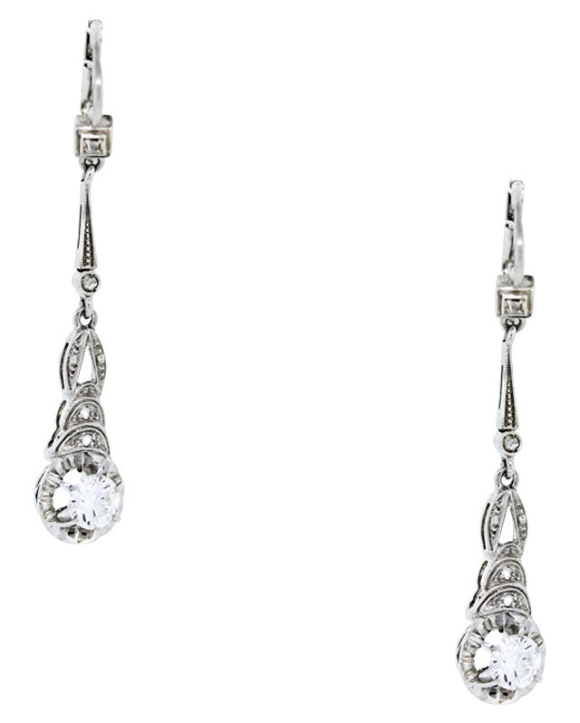 Gold Diamond Dangle Earrings