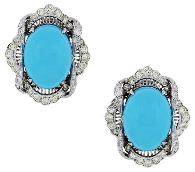 Cabochon Turquoise & Diamond Earrings