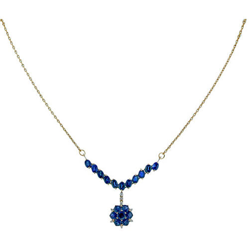 Sapphire & Diamond Drop Necklace