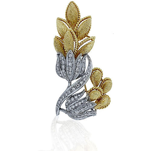 Gold & Diamond Flower Brooch