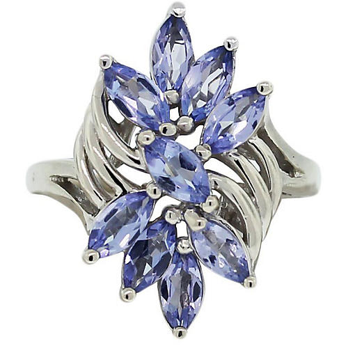 Marquise-Cut Tanzanite Cluster Ring