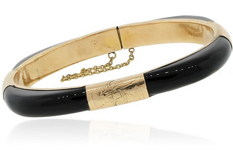 14K Yellow Gold & Onyx Bangle