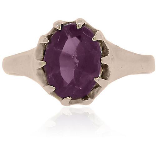 Rose Gold Oval Shape Amethyst Ring
