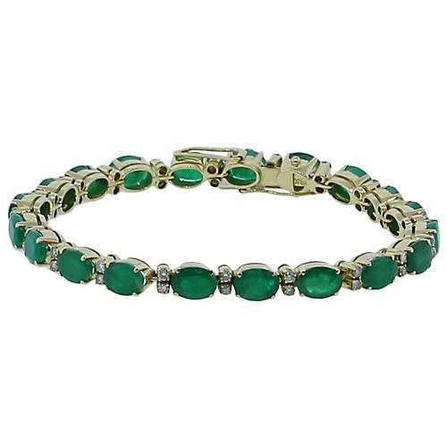 18K Gold, Emerald & Diamond Bracelet
