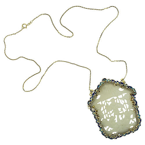 Gold, Jade & Accented Enamel Necklace