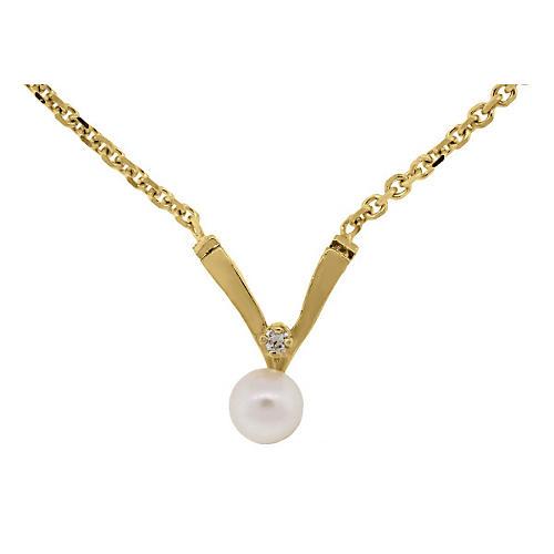 14K Gold, Pearl & Diamond Necklace