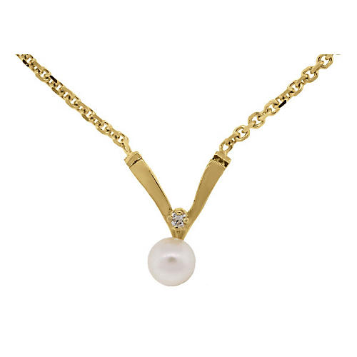 14K Gold, Pearl & Diamond Necklace