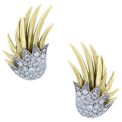 Two-Tone Gold & Diamond Earrings