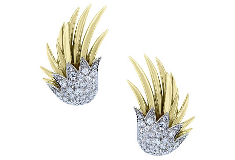 Two-Tone Gold & Diamond  Earrings