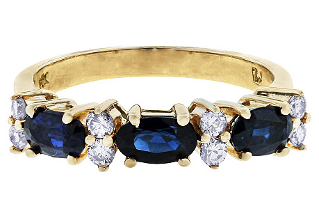 Oval Sapphires & Diamonds 14K Gold Ring