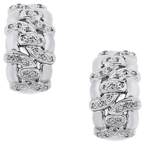 14K White Gold & Diamond J Hoop Earrings