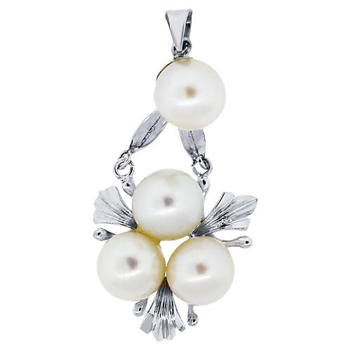 14K White Gold & Cultured Pearl Pendant