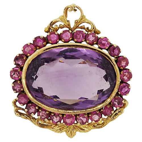 18K Gold, Oval Amethyst & Ruby Pin