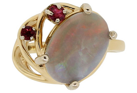 14K Gold, Ruby & Opal Cocktail Ring