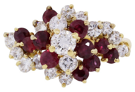 18K Gold, Diamond & Ruby Cluster Ring