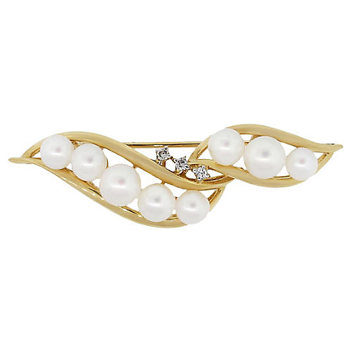 14K Gold Diamond & Pearl Pin