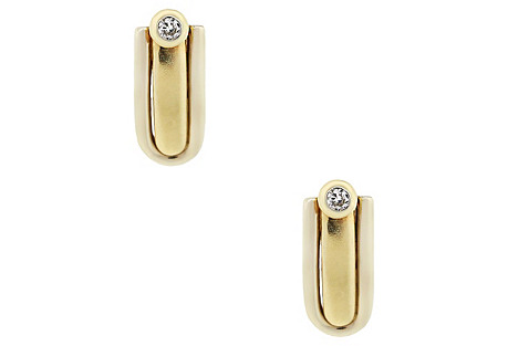 14K Gold Diamond Dangle Earrings